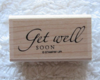 Stamp for Scrapbooking or Card Making- Get Well Soon-Rubber Stamp