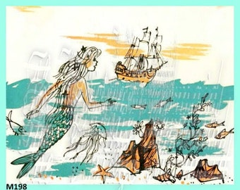 Fabric Block Mermaid Tinted Sketch Vintage Illustration Book Cotton Arts Applique M198