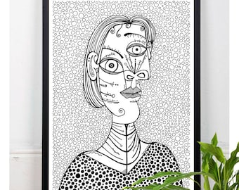 Picasso, Cubism, Art Print, Home Decor, Picasso Painting, Vintage art,Classic Art, Wall Decor, Black and White, Zentangle Art, Polka Dots