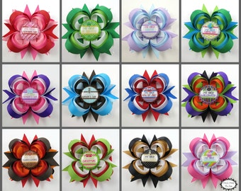 Babys First Holiday HairBow Set - Baby Shower Gift - New Mom Gift - My First Holidays - Headband Set - Infant - Newborn - CUSTOM PACKAGE