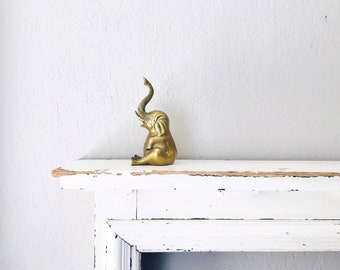 Vintage Brass Elephant Bookend // Solid Brass