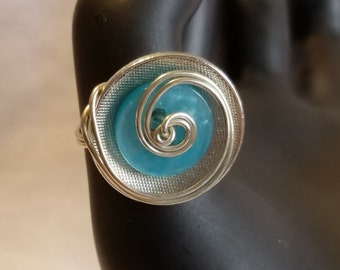 Silver and Aqua Button and Wire Ring Size 7
