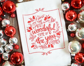 Christmas Kitchen Towel, It's the most wonderful time of the year, Script, Hand-lettered Flour Sack Tea Towel, dish Towel, holiday decor red