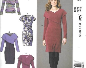 Misses Wide Collar Top and Dresses, Sizes 4 Thru 12, New Uncut McCalls Pattern 7243