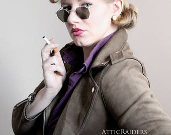 Dark Vintage Mens Sunglasses - Steampunk Glasses  , Vintage Sunglasses , Mens Sunglasses , Silver Sunglasses , Dark Sunglasses , Art Nouveau