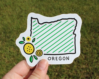 Whimsical Green and Yellow Oregon State Sticker Laptop Decal