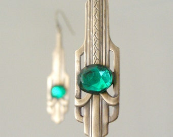 Art Deco Earrings - Vintage Earrings - Green Earrings - Brass Earrings - Emerald Green Earrings - May Birthstone - handmade