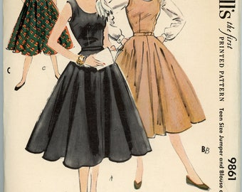 Vintage McCall's Pattern 9861 - 1954 - Teen Size Blouse or Jumper Dress Size 12 Bust 30
