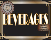Beverages Sign Roaring 20s Prohibition Era Art Deco Printable Gatsby Party Gold Black White Wedding Centerpiece Speakeasy Bar Drinks Sign