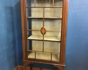 Edwardian Mahogany Inlay Glass Single Door Display Cabinet