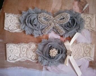 Wedding Garter, Bridal Garter, Garter - Silver/Gray & Ivory Garter Set with Pearl and Rhinestone - Style G268