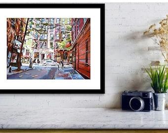 Greenwich Village Painting MacDougal St. Minetta Lane | NYC Art Large 12x16 Print New York Cityscape,  painting by Gwen Meyerson