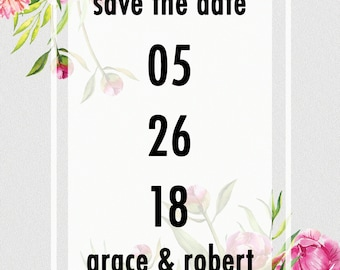 Digital Pink and Yellow Floral Save The Date