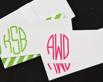 Monogrammed Personalized Flat Note Card