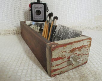 Vintage Wooden Drawer Box - Farmhouse Decor - Shabby Decor - Cottage Decor - Old White Paint - Glass Knob