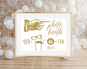 Gold Wedding Photo Booth Sign, Grab a Prop and Strike a Pose Sign, Printable Photo Booth Sign, DIY Wedding Sign, INSTANT DOWNLOAD