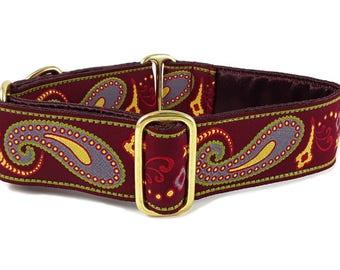 Martingale Dog Collar or Buckle Dog Collar - Custom Dog Collar - Wide Martingale Collar -  Parisian Paisley Jacquard in Burgundy - 1.5 Inch