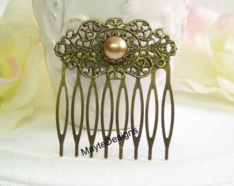 Camel Pearl Vintage Hair Comb/Bridal Pearl Hair Comb/Pearl Vintage Hair Comb