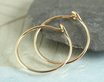 Gold Hoops - 14 ct Gold Fill Sleeper Earrings | Gold Sleepers | Gold Sleeper Hoops