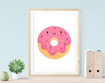 Donut Print, Donut Art, Foodie Gift, Gift For Her, Kitchen Wall Art, Girlfriend Gift, Nursery Prints, Bestfriend Gift, Kitchen Wall Art