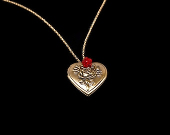 Gold Heart Locket Necklace - Bronze Heart Locket - Red Rose Necklace - Necklace For Mom - Red Flower Necklace - Victorian Necklace Red N1303