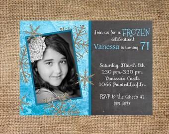 Frozen Birthday Invitation, Photo Card