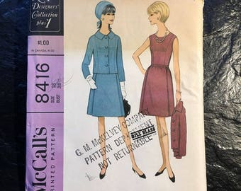 Vintage 1960s Bill Blass Dress and Jacket Pattern // McCall's 8416 > size 18 > classic suit, New York Designers' Collection Plus 1