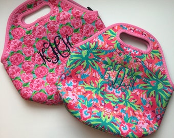 Monogrammed Lilly Inspired Lunch Box Embroidered Monogram Zippered Lunch Bag Personalized Tote
