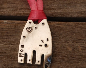 MOM with hearts and EYELASHES Ornament ELEPHANT made from Recycled Fork with Pink Ribbon