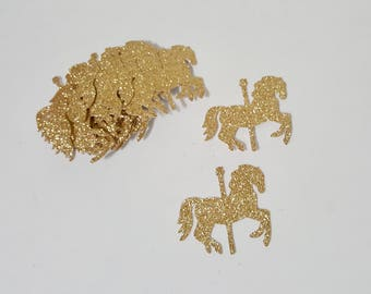 Carousel Die Cut outs gold silver glitter 30 count party decor confetti craft supplies scrapbook DIY horse kids papercraft handcrafted