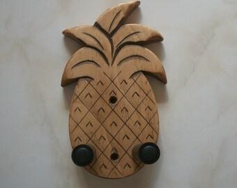 Unique ukulele wall mount hanger, hand carved pineapple, brown