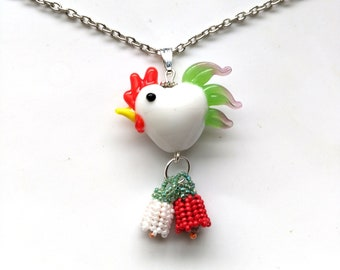Beadwoven Floral Rooster Pendant, Glass Lampwork Italian Colors Rooster, White& Red Flowers, Silver Plated Chain - Rooster by enchantedbeads