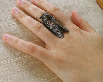 Adjustable cicada statement ring, insect jewelry, Gothic jewelry,