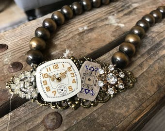 Am I late? Vintage Assemblage Collage Necklace Watch Rhinestones Beaded