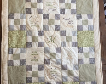 Embroidered  Custom Baby Quilts (*Price quoted includes 2 embroidered squares)