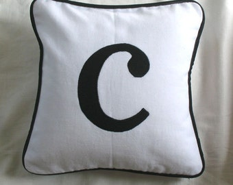 White and black initial pillow. Decorative  Monogram pillows.  Custom Made cushion covers letter pillow. Chose of your monagrams and colour