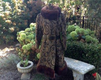 1960s Coat Mink Fur Trimmed / Vintage Brocade Coat / Vintage Coat