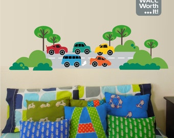 Cars on Road Vinyl Wall Decal - Boy's Room or Playroom Wall Sticker