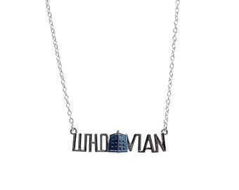 Silver Whovian Necklace, Whovian Themed Jewellery, Doctor Who Themed Gifts