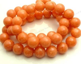 8mm Orange Coral Jade Round Gemstone Beads - 24pcs - BE18
