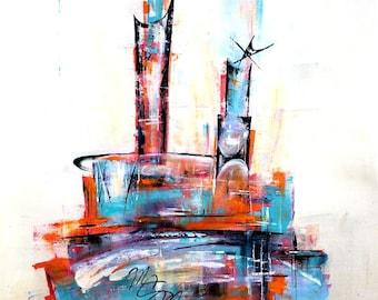 Mid-century modern abstract art - original painting mad men atomic retro googie 50s skyline Eames