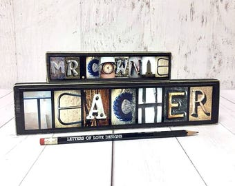Male Teacher Gift Name Sign, Male Teacher Appreciation Gift, Male Teacher Retirement Gift, Male Teacher Personalized Gifts, Masculine Decor