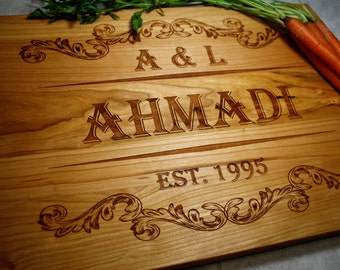 Custom Engraved Cutting Board - Kitchen Decor - Wedding Gift - Anniversary Gift - Gift for the Couple - Personalized Kitchen - Housewarming