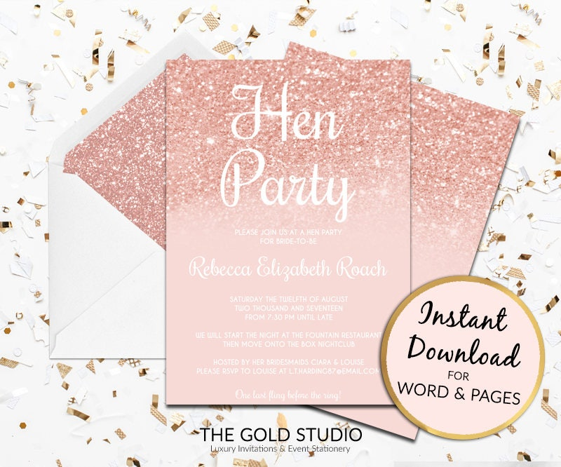 Hen Party Invitation | Rose Gold hen invite | Instant Download ...