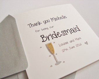 Handmade Personalised Bridesmaid Thank You Champagne Wedding Card