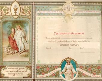 Vintage edited Catholic Graduation 8th grade Diploma