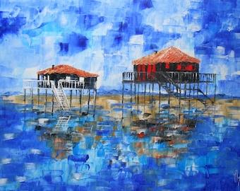 Painting  Cabanes Tchanquées de l'île aux oiseaux