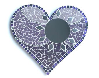 Purple Heart mosaic with mirror, Mosaic Heart with mirror