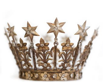 Crown Cake Topper, Santos Crown, Gold Crown, Star Crown, Wedding Cake Topper. As Seen in The Knot.