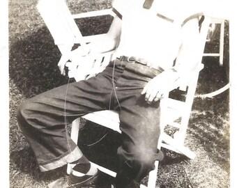 "Vintage Photo ""Neighborhood Hearthrob"" Handsome Teenage Boy Denim Jeans Argyle Socks Boat Shoes Polaroid Found Vernacular Photo"